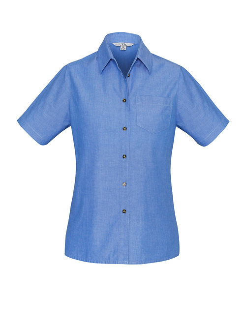 Ladies Wrinkle Free Chambray Short Sleeve Shirt