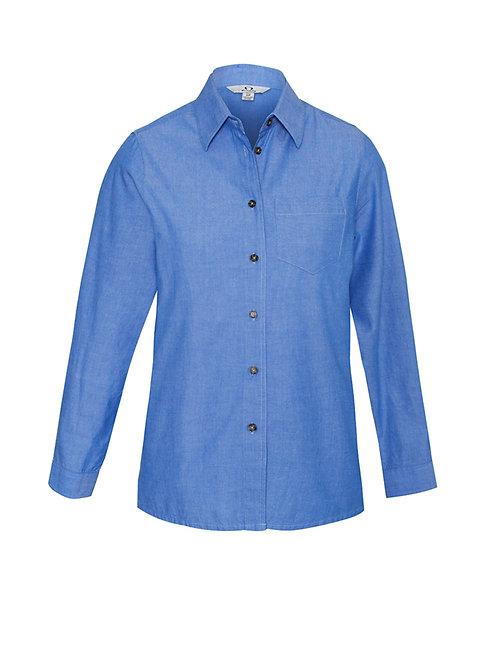 Ladies Wrinkle Free Chambray Long Sleeve Shirt