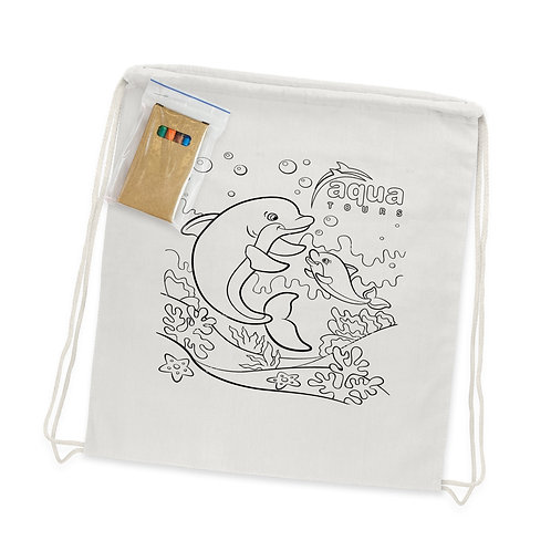113013 Cotton Colouring Drawstring Backpack