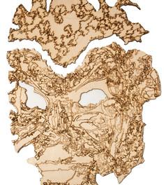 Имманентный театр. Фанера, лазерная резка и гравировка, три работы 120 х 87