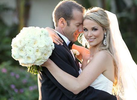 Happy bride and groom on their wedding.j