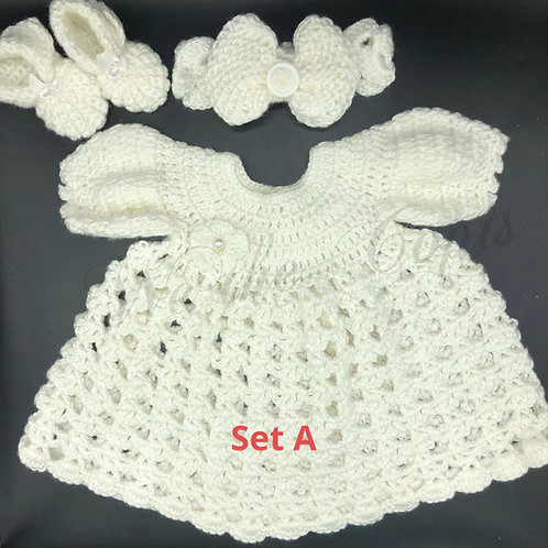 Crochet dress sets for newborn-toddler girls