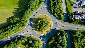 Aerial long exposure of traffic on a rou