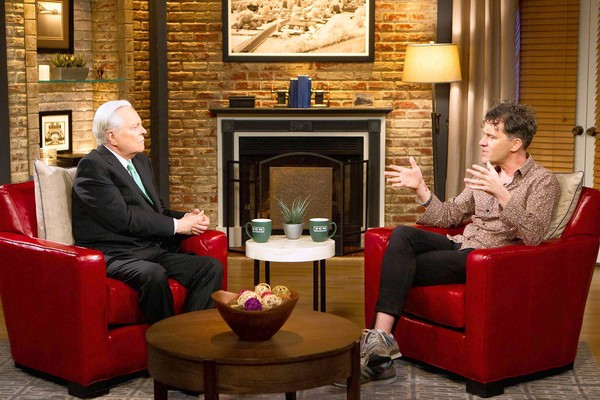 "Robert Osborne and Mark Cousins introducing a segment of<br>""The Story of Film: An Odyssey."" (David S. Holloway, TCM / September 2, 2013)"