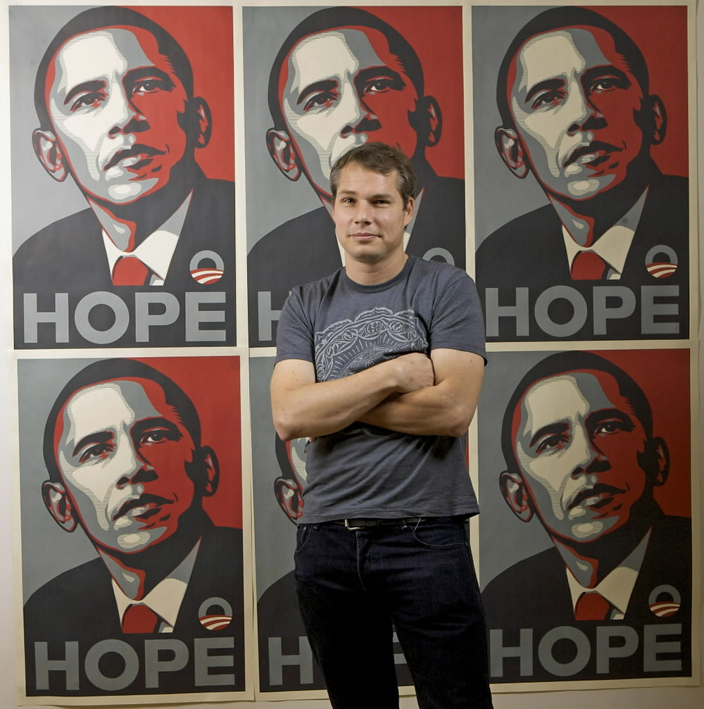 Shepard Fairey with HOPE Posters; photo via webpages.scu.edu