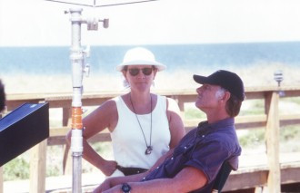 John and Maggie on the set of SUNSHINE STATE