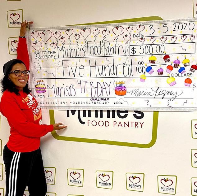 Marisa raised $500 for Minnie's Food Pantry