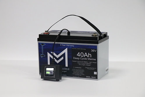 36V 40AH Deep Cycle Marine Trolling Battery MML-3640 (w/ display)