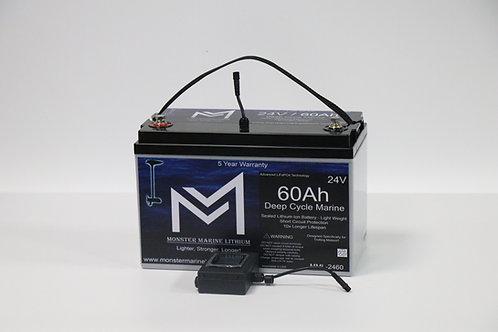 24V 60Ah Deep Cycle Marine Trolling Battery MML-2460 (w/ built in display)