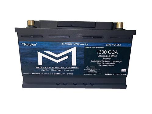 """1300CCA 120Ah Cranking Lithium MML-13C120 """"Scorpion"""""""