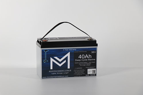 36V 40AH Bluetooth Deep Cycle Lithium Marine Trolling Battery MML-3640B