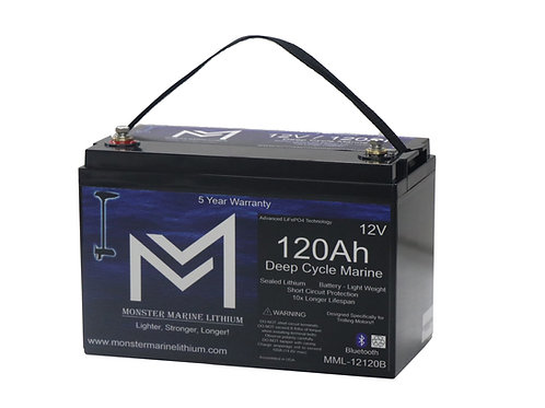 12V 120Ah Deep Cycle Marine Electronics Battery MML-12120b (w/ bluetooth)