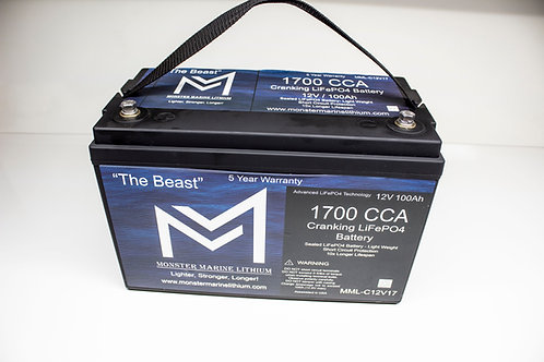 "1700CCA Cranking Lithium LiFePO4 ""The Beast"" 100Ah"