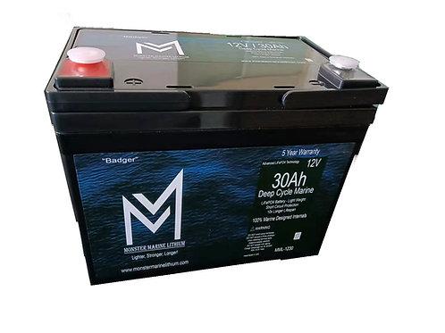 "12v 30Ah Deep Cycle Marine Battery ""Badger"""