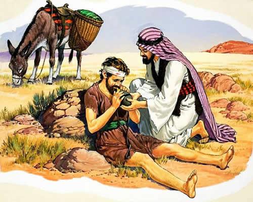 Ilustración de la parábola de Jesús del buen samaritano