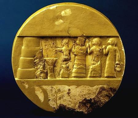 Medallón mesopotámico en el que se representa a Enheduanna