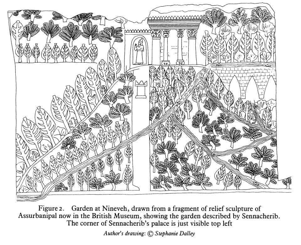 Grabado de jardín asirio de Nínive