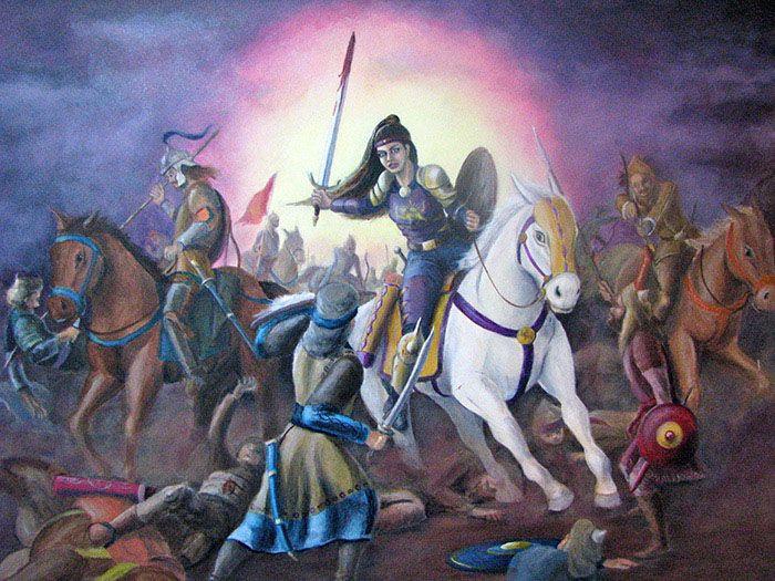 Ilustración de la princesa persa Apranik en combate