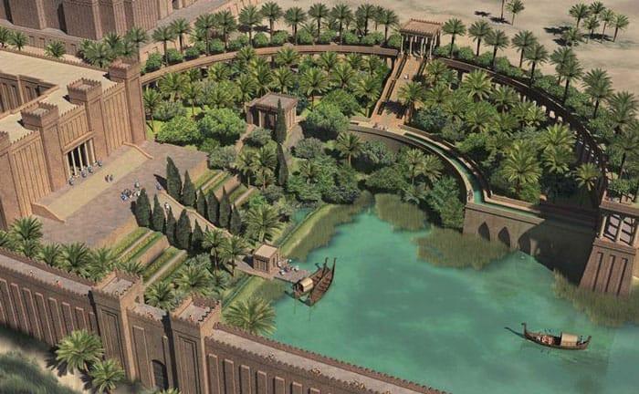 Recreación de los jardines colgantes de Babilonia
