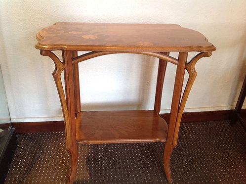 Emile Galle signed marquetry table c1890