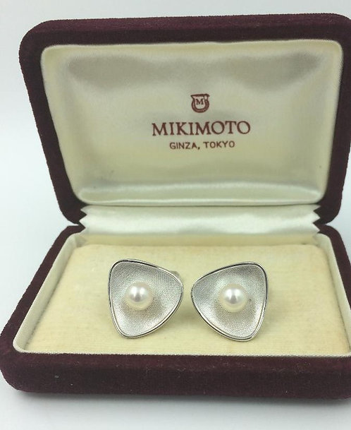 Pair silver Mikimoto Akoya Pearl Cufflinks c1950/1960