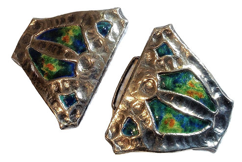 Silver enamel belt buckle Cymric from liberty and co Birmingham 1903