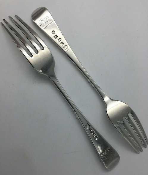 Rare Pair of York Silver Forks by Hampston Prince and Cattle 1800