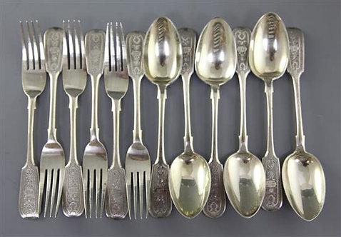 19th Century Russian Silver Dessert Set