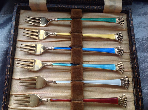 Set of 6 Danish silver and enamel forks