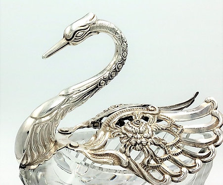 Silver and cut glass swan bowl sweets trinkets 1973