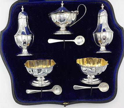 Edwardian Chester Silver 5 Cruet set piece 1910