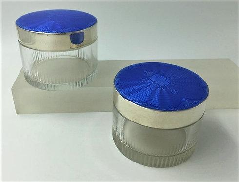 Pair Asprey London silver enamel topped dressing table jars