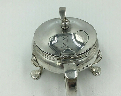 Vintage Silver Mustard Pot with liner and spoon Wakely & Wheeler London 1954