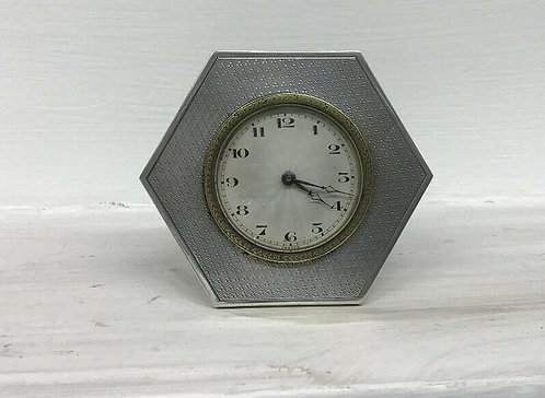 Antique sterling silver Art Deco clock London 1935