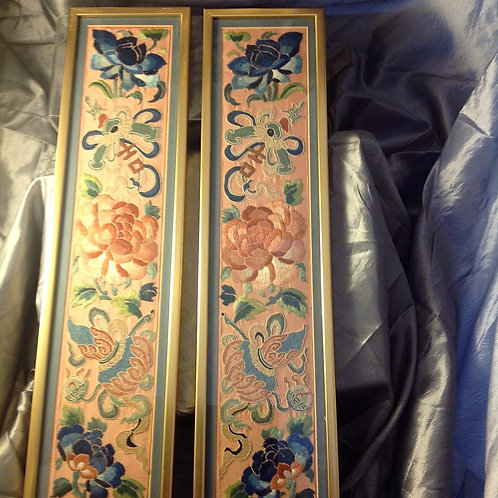 Pair of mounted Chinese embroidered panels