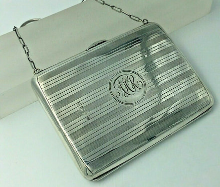 Silver dance card purse pencil aide memoire, card & stamp sleeve Birmingham 1912