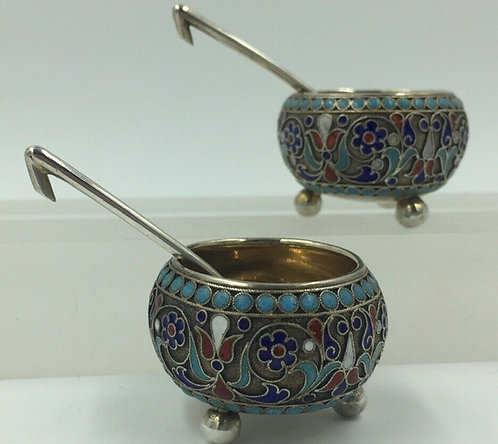 Pair of Imperial Russian silver enamelled cauldron salts Gustav Klingert 1896