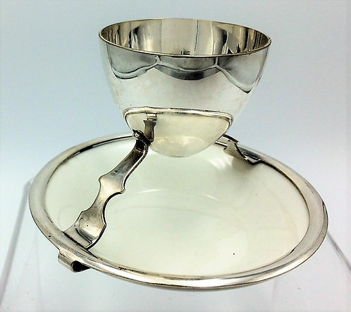 Silver plated Egg Cup and saucer Christopher Dresser Hukin and Heath