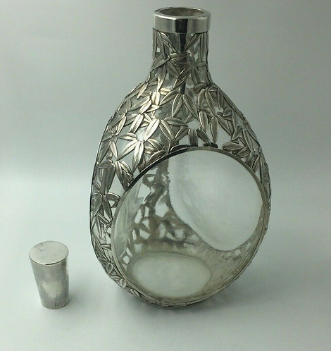 Export Chinese Silver Overlay Decanter Dimple Shape c1900