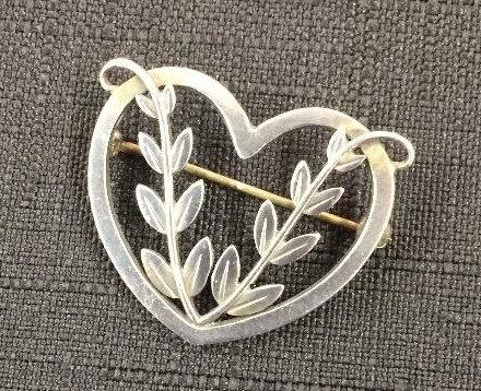 Georg Jensen silver heart brooch Malinowski design early mark c 1920
