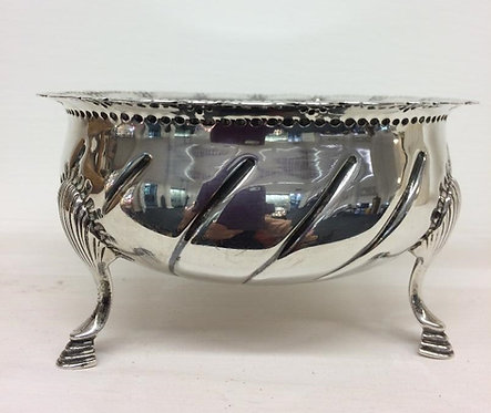 Irish silver bowl on 3 pad feet, Dublin 1921 West and Son