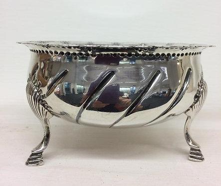 Irish silver bowl on 3 pad feet, Dublin 1921 West and Son