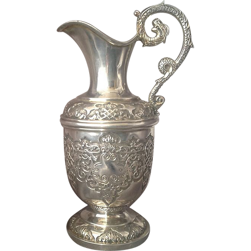Exceptional quality heavy gauge silver jug 1899