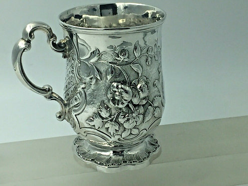 Superbly Chased Embossed Victorian Silver Christening Mug 1854