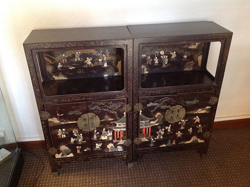 Pair of 19th Century Oriental lacquered cabinets
