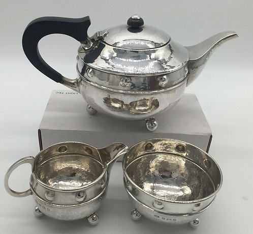 Silver Tea Set by Arts and Crafts Silversmith  A E Jones Birmingham 1919