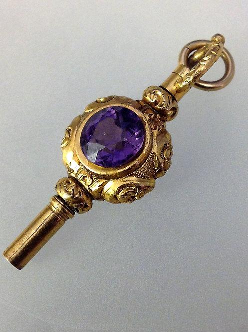 Victorian 9ct gold fob watch key citrine amethyst