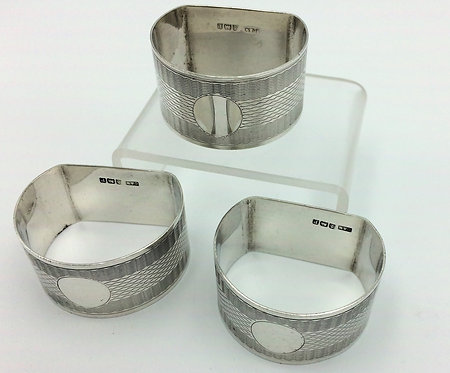 3 Art Deco silver napkin rings Crisford and Norris 1914