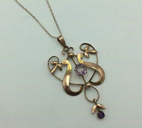 Edwardian Art Nouveau 9ct gold amethyst pendant and chain