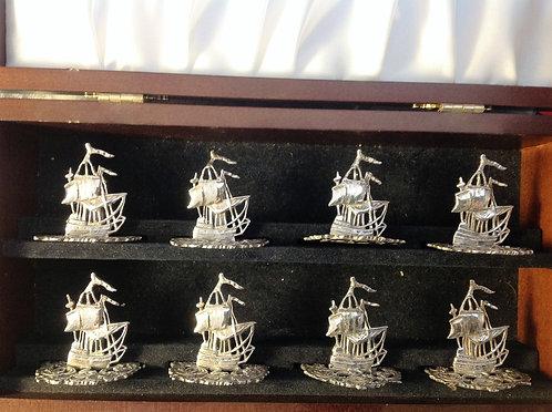 8 silver galleon menu holders in wooden case